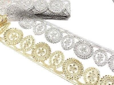 1 Yard Tear Drop Stone Metallic Edging Lace Ribbon Border Bridal Dresses Trim