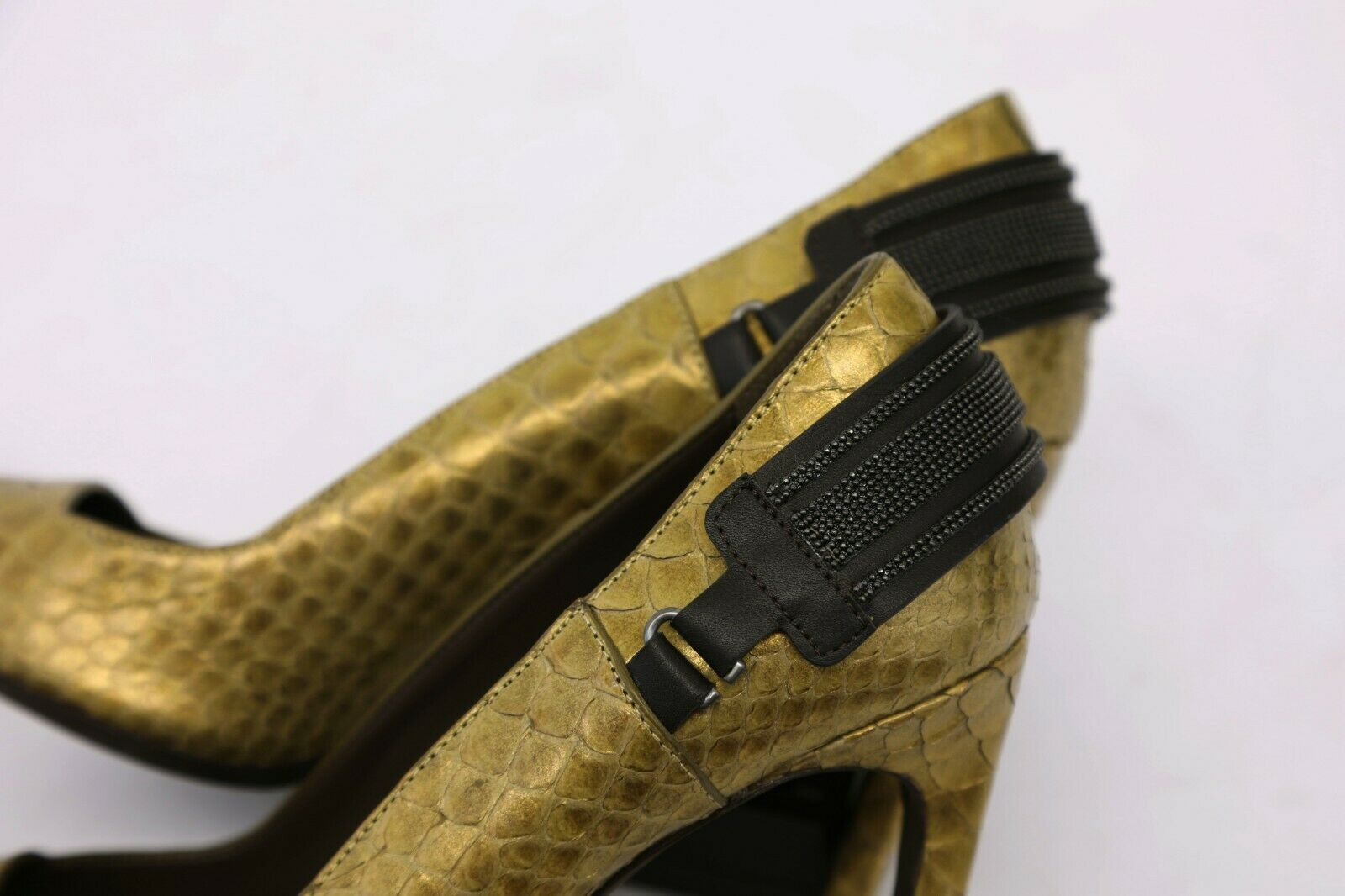 NWOB 2995 Brunello Brunello Brunello Cucinelli Metallic Python Leather Bead Strap Pump 37 7US A191 07031a