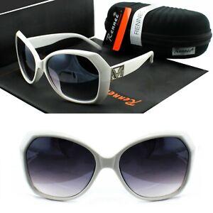 Rennec-Damen-Sonnenbrille-Schmetterling-Eckig-Grosse-Glaeser-Weiss-Lila-VD1-BOX
