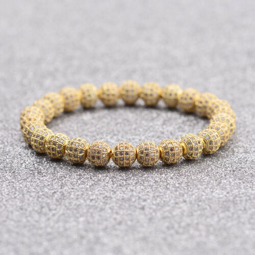 Micro Pave Beaded Crown 10Pcs Balls Hand-Woven Bracelet Men Luxurious Bracelets