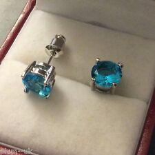 Classic round aquamarine 7mm 18k silver WHITE GOLD gf stud earrings BOXD Plum UK