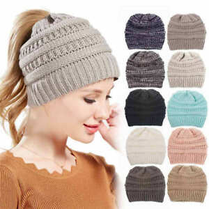 32483b153fbea Women s Ponytail Beanie Skull Cap Winter Soft Stretch Cable Knit ...