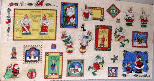 Christmas Fabric Panel Ornament Quilt Gift Tag ELF Garden Knome Kringles SSI