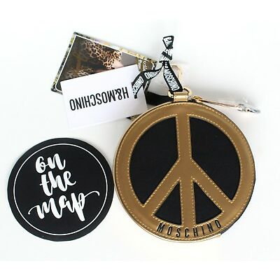 H&M Moschino MTV HM Small Round Coin Purse Pouch Bag Peace Sign Black Gold New