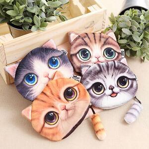 Fashion-Ladies-Cute-Cat-Face-Animal-Coin-Purse-Wallet-Mini-Zipper-Bag-S-amp-K