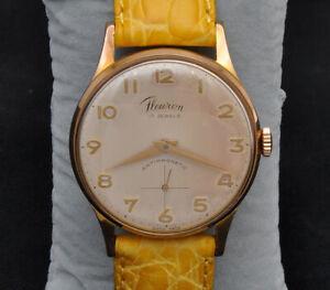 Fleuron-vintage-1950-55-rose-gold-man-039-s-34mm-watch-excellent-keeps-time