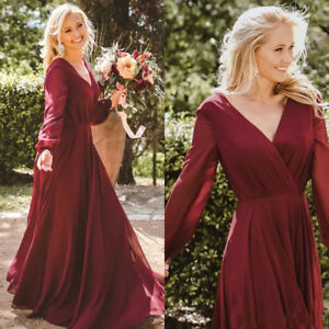 Details about Plus Size Burgundy Country Bridesmaid Dresses Chiffon Long  Sleeves Boho Gown