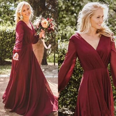 Burgundy Country Bridesmaid Dresses Chiffon Long Sleeves Boho Plus Size  Gown | eBay