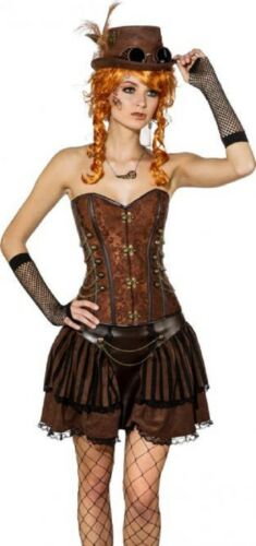 Ladies Deluxe Lace Steampunk Cosplay Quality Fancy Dress Costume Outfit Corset