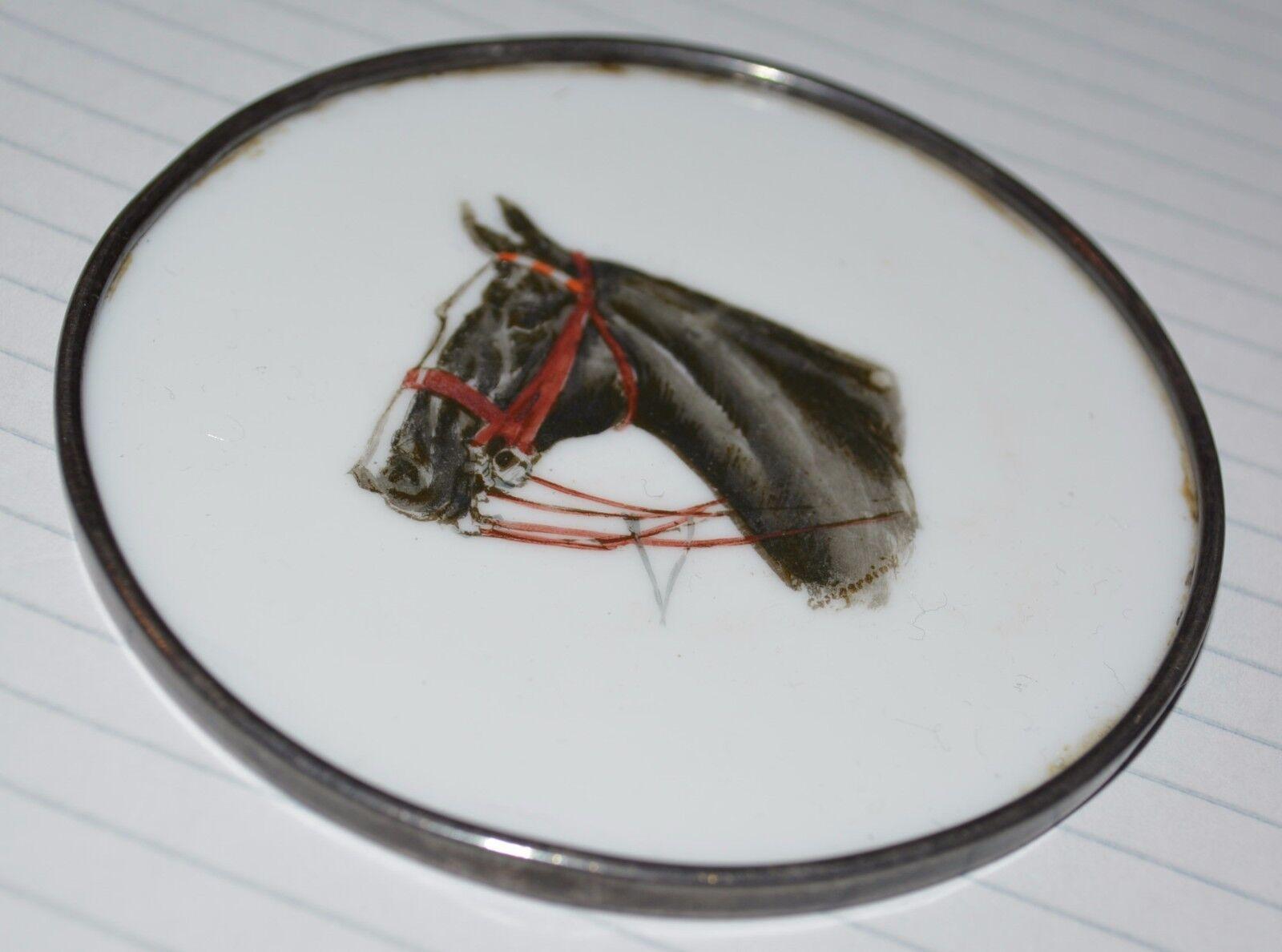 Pintado A Mano Firmada Porcelana de plata esterlina montaña rusa Caballo Cyril gorainoff