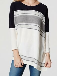 ccf81a4b8 Ann Taylor LOFT Striped Poncho Sweater Top Size X-Large NWT Forever ...