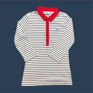 Womens-Lacoste-Polo-Shirt-Medium-Striped-3-4-Sleeves