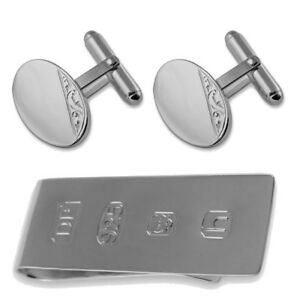 Engraved Cufflinks Sterling Silver Oval