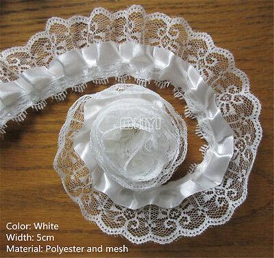 5/10m Vintage Gathered Pleated Organza Lace Trim Wedding Bridal Dress Ribbon DIY