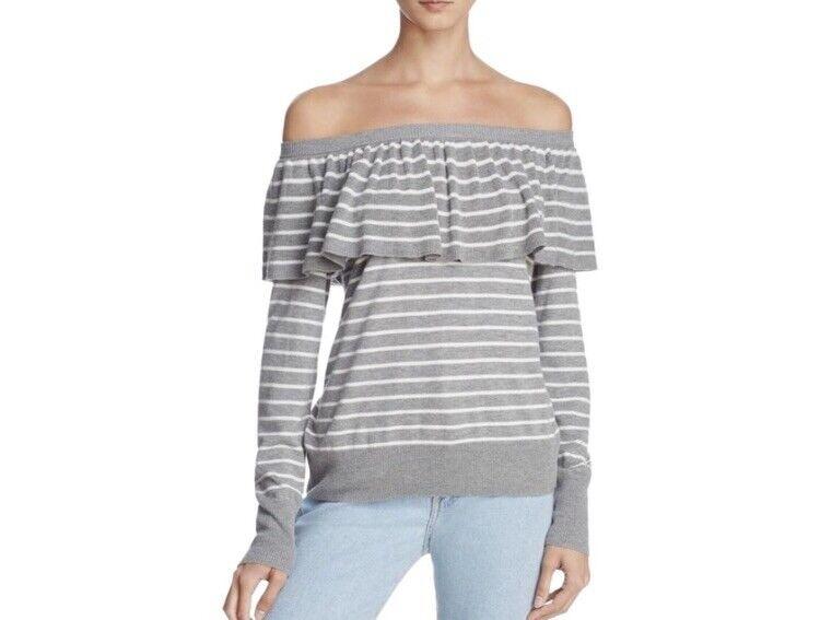 JOIE Adinam Grey Striped Sweater L