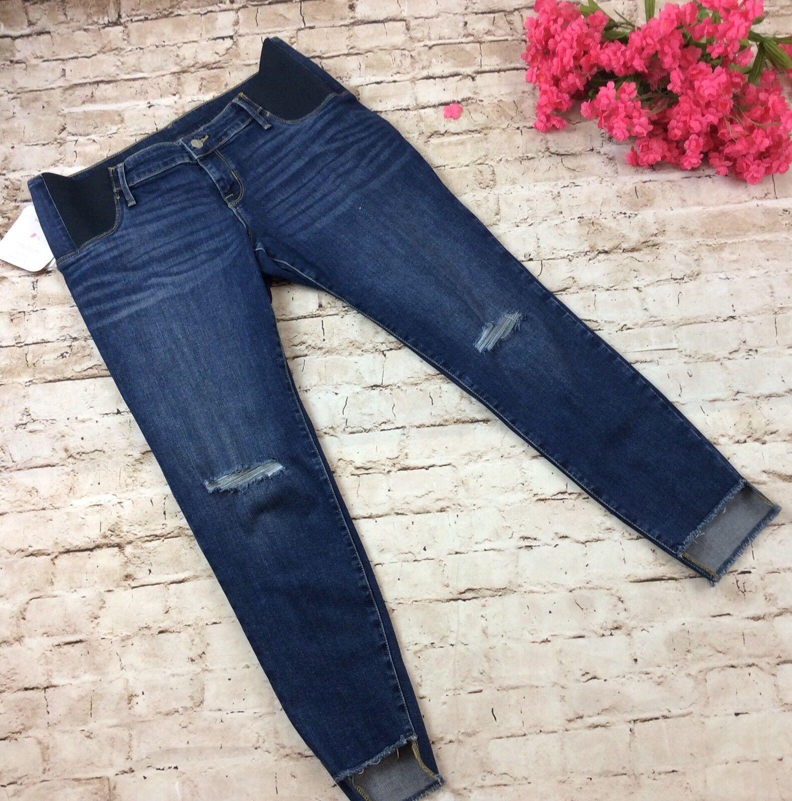 Isabel Maternity Jeans 18 Skinny Cut Distressed Side Panel Frayed Hem Stretch For Sale Online