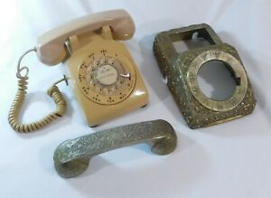 VTG-Bell-System-Western-Electric-500DM-Beige-Rotary-Dial-Phone-w-Metal-Cover