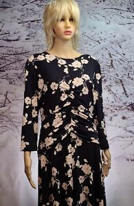 MAGGY LONDON Floral Black/White Sheath Pullover Size 14 Dress NWOT