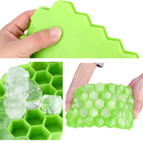 2x37Cavity Ice Cube Ball Maker Tray Silicone Sphere Mold Bar Whiskey Cocktail US