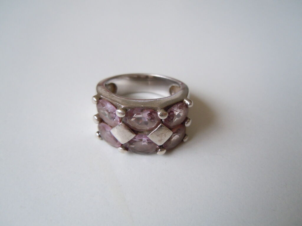 Massiver 925 Sterling silver Ring 6 x facettierter Spinell 10,9 g   RG 58