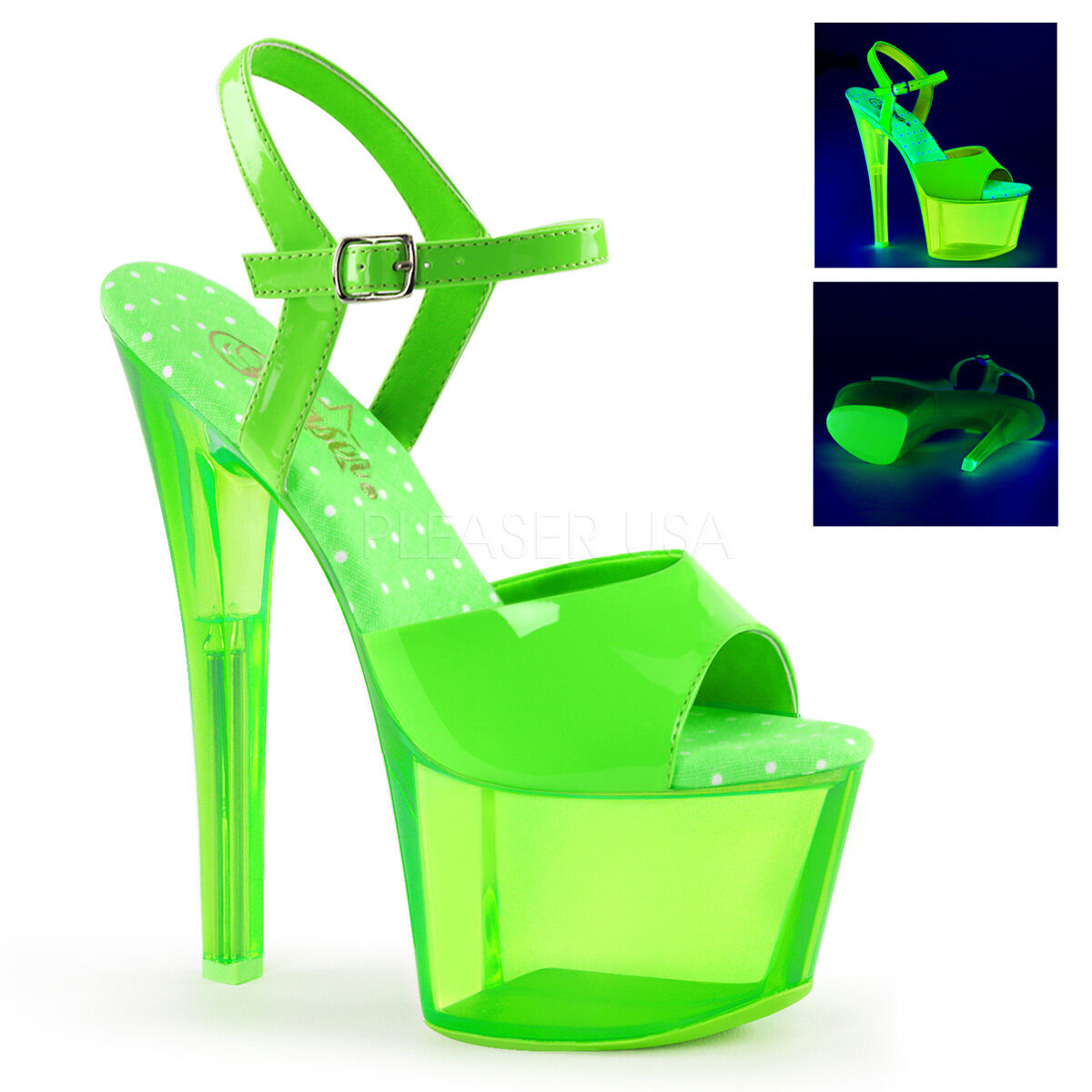 PLEASER Sexy Stripper Dancer Clubwear UV 7  High Heel UV Clubwear Reactive Neon Grün schuhe a45463