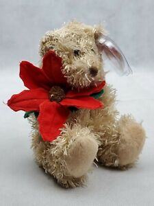 TY Beanie babies 2005 holiday teddy brown bear holding red flower (F)
