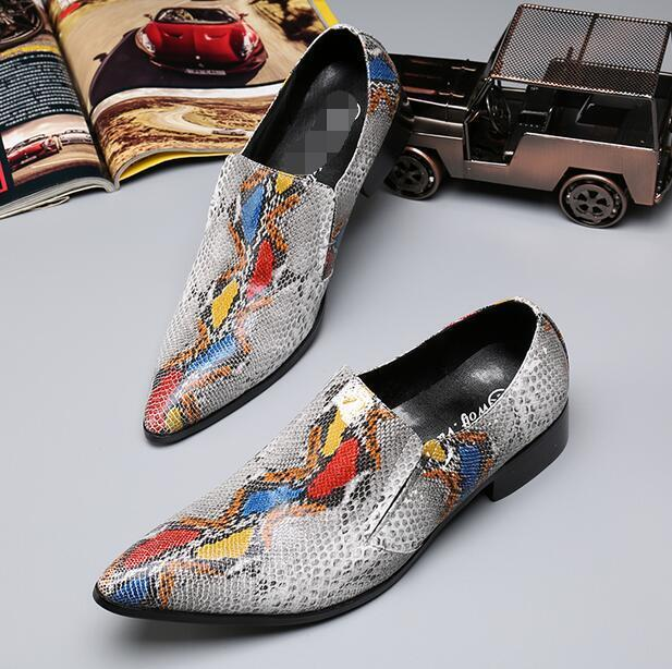 New Men Pointy Toe Slip On snakeskin Multicolor Print Shoes Loafers Boat Shoes