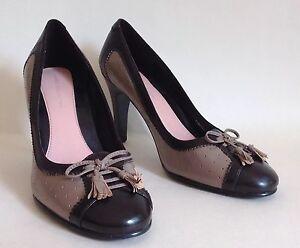 Marks-amp-Spencer-Brown-amp-Taupe-Tassel-Front-Leather-High-Heel-Court-Shoes-UK-3-5
