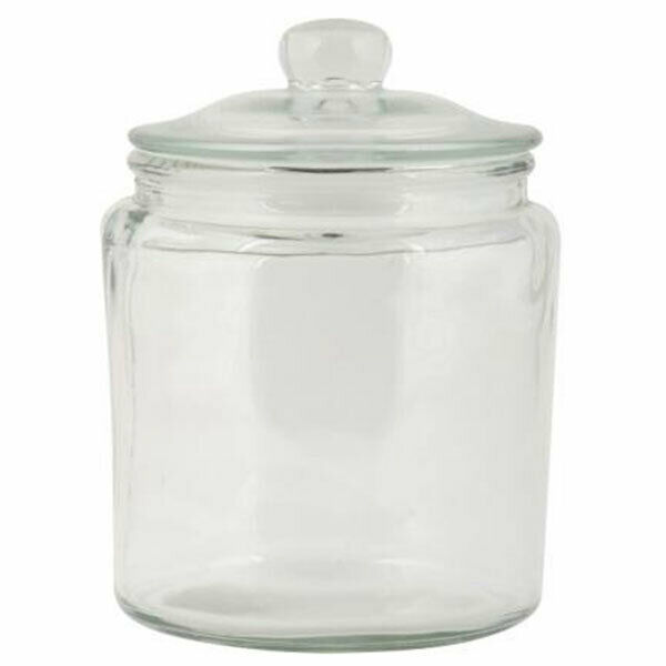 Large Square Ribbed Glass Jar With Lid Cookie Biscuits Kitchen