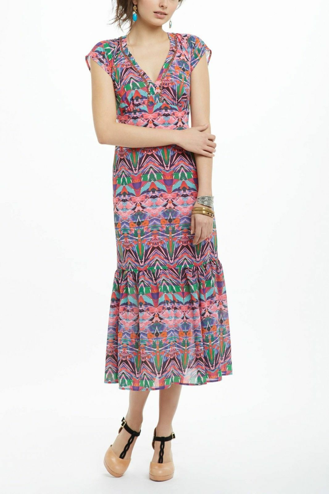 Anthropologie Vanessa Virginia Mural Maxi dress  womens 2 NWT