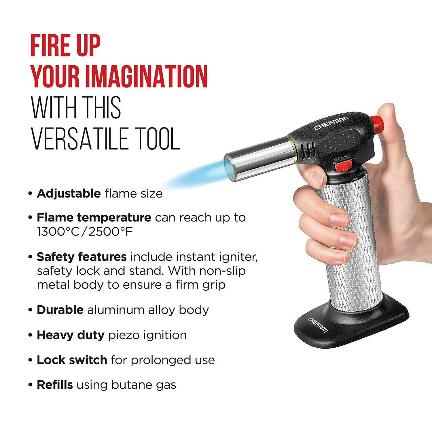 Chefman Culinary Torch Refillable Butane Cooking Kitchen Blow Torch