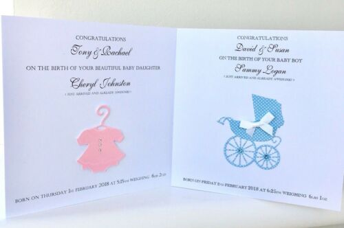 Birth of Twin Boys Personalised NEW BABY CONGRATULATIONS CARD Blue Prams