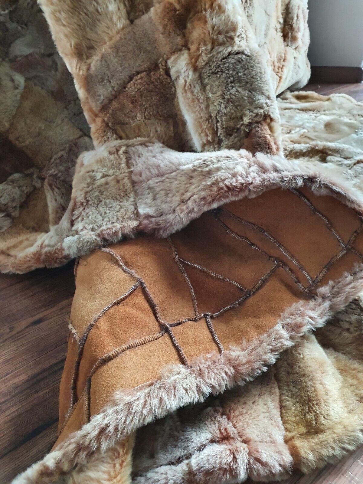 Lederteppich Toscana Lammfelldecke Stone Patchwork Rückseite 160/200 cm Karamel