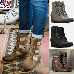Womens-Ladies-Wedge-Heel-Ankle-Boots-Winter-Lace-Up-Martin-Shoes-Casual-Booties