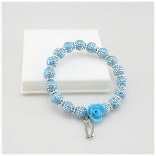 Nuevos niños 8MM Azul Punto De Plata Pulsera Elástica Abalorios acrílicos con flor de encantos