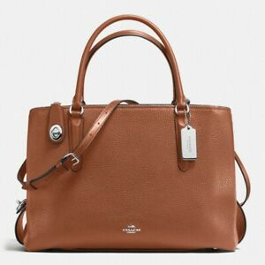 COACH Womens Pebbled Brooklyn 34 Carryall in Brown 57276
