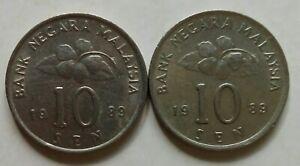 Second Series 10 sen coin 1989 2 pcs