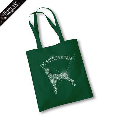 Jutebeutel Beutel Shopper Handtasche Tasche Bag Strass Hund Dobermann