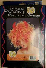 Parrucca Wig Parruque Devil Rosso Giallo Fiori Paolo Diavolo Maschera Carnevale