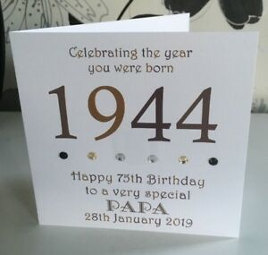 Image Is Loading 75th 1944 Year You Were Born Birthday Card