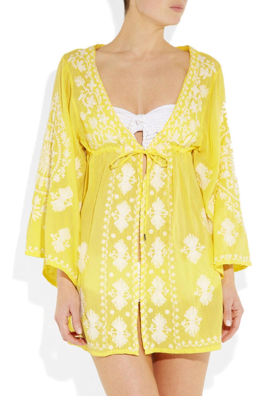 MELISSA ODABASH Yellow Embroidered Voile Cover Up Beach Dress Kaftan Bikini BNWT
