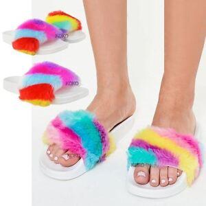 919a9826b Womens Ladies Rainbow Multi Colour Fluffy Faux Fur Summer Sandals ...