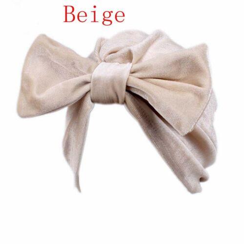 Head Wrap Scarf Velvet Bonnet Hat Big Bow Hijab Chemo Turban Beanie Cap