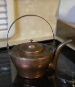 Antique-Copper-Kettle-French-Hand-Hammered-Dovetail-Seam-18th-Century-19th-Old