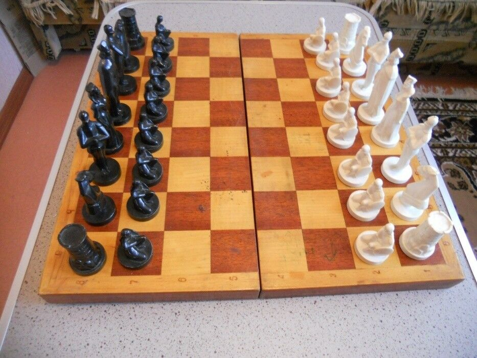 Souvenir Chess set VINTAGE old SOVIET UNION USSR RUSSIAN game knights + board