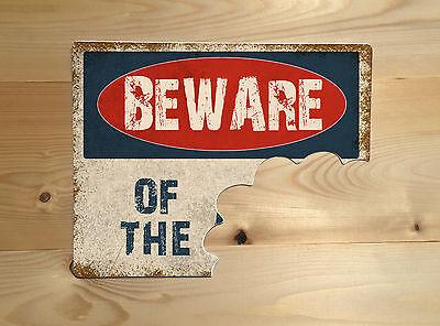 Beware Of The Bite Mark Vintage Retro ENAMEL METAL TIN SIGN WALL PLAQUE
