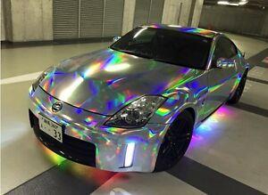 Chrome Car Wrap >> Silver Holograph Chrome Rainbow Vinyl Roll Car Wrap Air Release