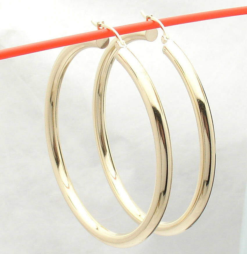 4mm X 55mm 2  Large Plain Shiny Hoop Earrings REAL 14K Yellow gold FREE SHIPPING