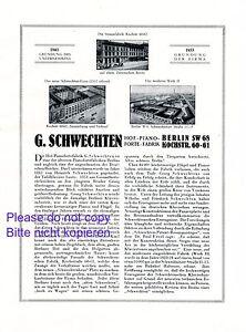 Piano Schwechten Xl 1925 Publicité & Historique Des Berlin Piano Publicité +-afficher Le Titre D'origine
