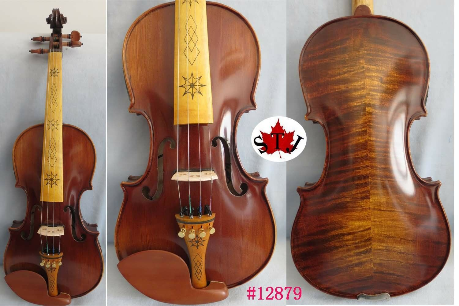 Brown color NEW model 4 strings 4 4 electric violin +Acoustic violin